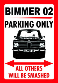 "Parkschild ""BIMMER 02 PARKING ONLY"""